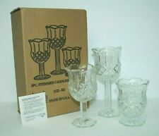 Home Interiors Stemmed 3-Pc Candleholders Set Homco 1122-Bd Tulip Cups Mint!