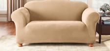 Sure Fit Stretch Pique Sofa Slipcover Cream Box Seat Style Cushion 1 Piece