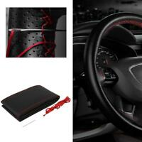 Red DIY Leather Car Truck Auto Steering Wheel Cover With Needles and Thread UP