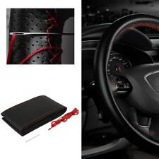 Red DIY Leather Car Truck Auto Steering Wheel Cover With Needles and Thread KJ