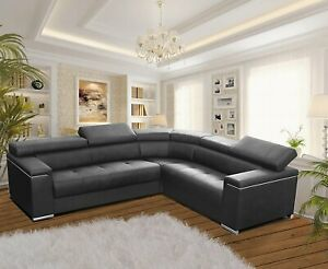 Modern Corner Sofa SILVA 1 GREY Faux Leather Storage Pull Out Bed LEFT or RIGHT