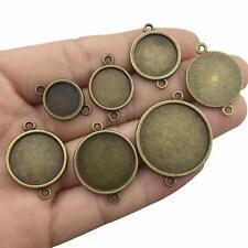 48 Cabochon Setting Blanks Circle Pendants Antiqued Bronze Connector Link BULK