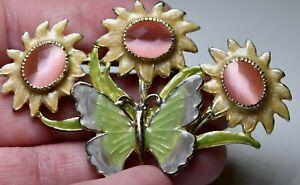 Signed Kenneth Cole KC Flowers & Butterfly Enamel Brooch Pin BEAUTIFUL!