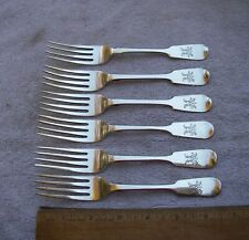 Nice SET SIX English VICTORIAN Sterling LUNCHEON FORKS-Fiddle Pattern-Maker CB