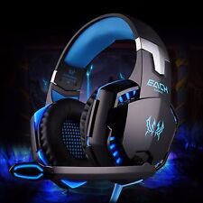 Blue Stereo Surround 3.5mm LED Gaming Mic Headset Headphones PC Laptop PS4 Xbox
