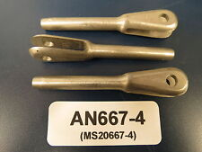 "AN667-4 (MS20667-4) Aircraft Cable Fork End for 1/8"" Cable (3 each) NOS"