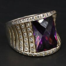 Striped Tapered Ring Size 9.5 - 13g Sterling Silver - Purple Cz Cubic Zirconia