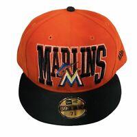 Miami Marlins [MLB] New Era 59Fifty Orange Fitted Baseball Hat Cap (7 7/8)