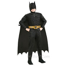 NEW Batman Dark Knight Muscle Chest Boy Costume Jumpsuit Size L(12-14) w/ Mask