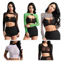 Womens V-neck Long Sleeve T shirt Mesh Transparent Crop Top Buckle Cover Up Tank