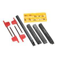 4pcs Lathe Boring Bar Turning Tool Holder w/ 10pcs DCMT0702 Carbide Inserts Q5F5