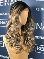 SYNTHETIC LACE FRONT WIG OMBRE BLONDE LONG WAVY 22 INCHES PREMIUM