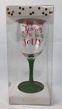 Slant Collection 13.5oz Holiday Wine Glass Christmas Tis The Season Green Nice Cookware, Dining & Bar