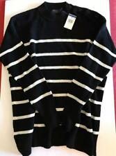 Polo Ralph Lauren Women M NWT $185 Sweater Black White Stripe Linen Cotton NEW