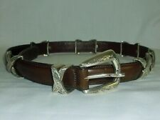 "BRIGHTON~ WOMENS BROWN LEATHER ""X""  BELT~ M 46909"