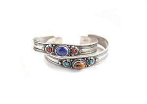 Silver Plated White Metal Inlaid Tibetan Bracelet