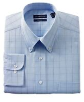 Club Room Easy Care Button Down 100% Cotton Blue Plaid Dress Shirt 14.5 32/33 S