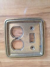 Vintage Brass Toned Outlet & Switch Receptacle Old Plate Cover Plate Electrical
