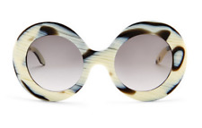 VICTORIA BECKHAM Large Oversized Round Women Sunglasses VBS127 Ivory Horn Brown