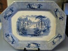 Antique J. Clementson SIAM, LARGE IRONSTONE BLUE TRANSFER SERVING PLATTER