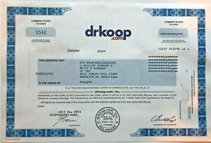 Dr. Koop dot com > 2001 early internet stock certificate