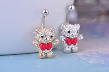 Bear Drop Body Piercing Belly Button Ring Dangly Reverse Crystal Navel Bars