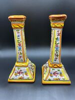 Pair VIntage Portugal Pottery Hand-painted Candle Stick Holders Boho Folk Art