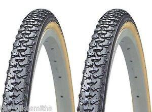 "2 PAK KENDA K161 CycloCross 27"" x 1-3/8"" Gum Wall Winter Bike Tire  Road Knobby"