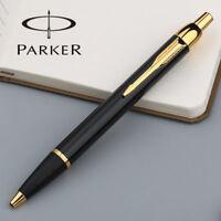 Luxurious Metal Parker IM Bright Black Golden Clip 0.5mm Fine Nib Ballpoint Pen