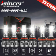 New listing 6Pcs Combo 9005+H11+9006 Cree Led Headlight Kit Hi/Low Bulbs 6000K 590000Lm Mini