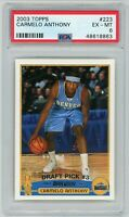 Carmelo Anthony Denver Nuggets 2003 Topps Rookie Card #223 PSA 6