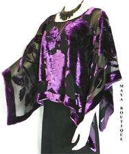 Silk Burnout Velvet Poncho Kimono Top Amethyst & Black No Fringe Maya Matazaro