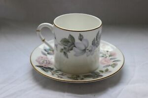 Royal Worcester June Garland  Coffee Can(Gold Ribs on Handle) and Saucer