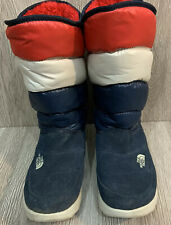 North Face Thermoball Women Winter Boots Pull On Red White & Blue Size 6