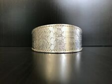 S/M Leather Dog Collar LINED Greyhound Whippet Saluki SILVER REPTILE PRINT