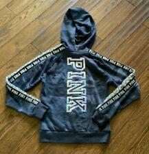 Victoria's Secret PINK XS Black & Gray Camo Sequin Hoodie Sweatshirt Full Zip