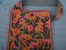 VINTAGE BLUE GRAY WOOL SHOULDER HANDBAG PURSE CREWEL EMBROIDERERED FLOWERS