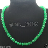 """BEAUTIFUL NATURAL 5X8MM FACETED GREEN EMERALD RONDELLE GEMS NECKLACE 18""""AAA"""