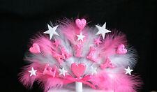 Cœur et étoile avec plumes d'anniversaire/Baptême cake topper, Tout Nom et âge