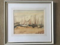 Watercolour Sailing Fishing Boats Mores On The Beach Hastings F J James Framed
