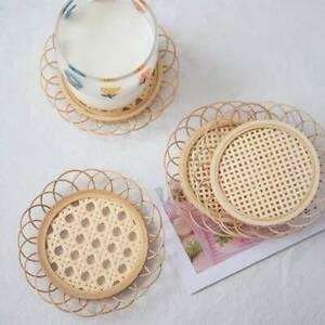 Japanese Style Handmade Bamboo Coaster Rattan Woven Cup Holder Pot Pad Tea Mat