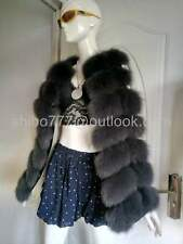 Real Farm Fox Fur Vest Waistcoat Gilet Jacket Coat Women Warm clothing-Dark grey