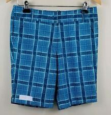 CALLAWAY Stretch Golf Shorts, Womens Size 6, Blue, Plaid, NEW, Waist 32, L 9.5