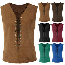 Vintage Medieval Men Vest Laced Up Renaissance Sleeveless Solid Waistcoat Gothic
