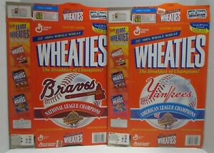 2 Wheaties Cereal Boxes 1996 World Series: Yankees and Braves