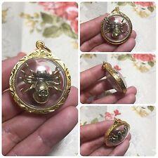 Mini Spider Yantra Thai Amulet Talisman Brass Luck Love Rich Wealth Protect .