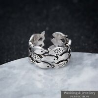 925 Sterling Silver Ring Band Knuckle Thumb Finger Toe Fully Adjustable Jewelry