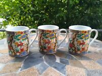 SET OF THREE Imari Gohan Floral Oriental Asian Coffee Mugs - Great Condition!