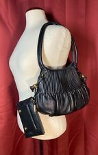 BODHI Pleated Hobo Bag + Matching Wallet Black Pebbled Leather Gold Accents Set