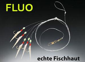 BALZER HERINGSVORFACH Fluo-Haken echte Fischhaut  5 Haken #6 Heringspaternoster